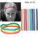 MAARYEE Multicolor Yoga Hair Bands Women Men Sports Headband Anti-slip Elastic Rubber Sweatband Football Yoga Running Biking Headscarf Hairband 12 PCS/SET