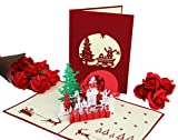 Langxun 3D Christmas Cards - Handmade Merry Christmas Cards for Christmas Decorations and Christmas Greeting - 7 Cards & Envelopes (7 Pack)