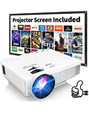 DRJ Mini Projector Outdoor Movie Projector with 100Inch Projector Screen, Full HD 1080P Projector Supported, Compatible with TV Stick, Video Games, HDMI, USB, TF, VGA, AUX, AV, PS4