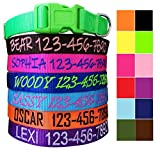 Mix Paws, Personalized Custom Customized Embroidered Dog Name & Phone Number Adjustable Nylon Collar for Large Medium Small Breed, Girl Boy Dogs, Pet Puppy Black Red Pink Purple Orange Blue Green