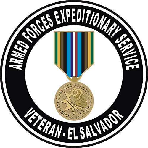 Military Vet Shop US Army Armed Forces Expeditionary Medal El Salvador Window Bumper Sticker Decal 3.8
