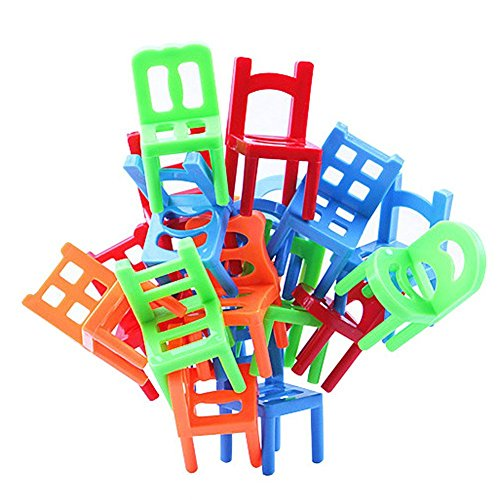 Trekbest Balance Chairs Game Toys - 18 Chair Toys Stacking Intelligence Multiplayer Parent-Child Game as Birthday - Game Stacking Chair
