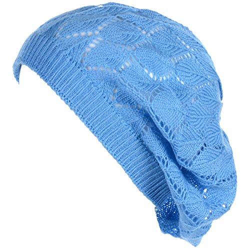 BYOS Chic Parisian Style Soft Lightweight Crochet Cutout Knit Beret Beanie Hat (Leafy Blue)