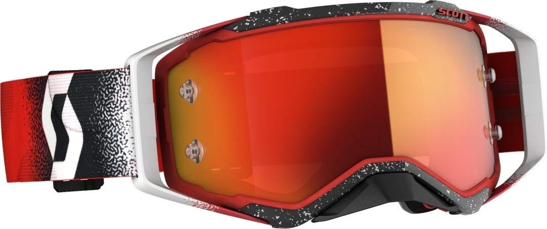 Scott Prospect MX Goggle Cross//MTB Brille wei/ß//rot//orange Chrom Works