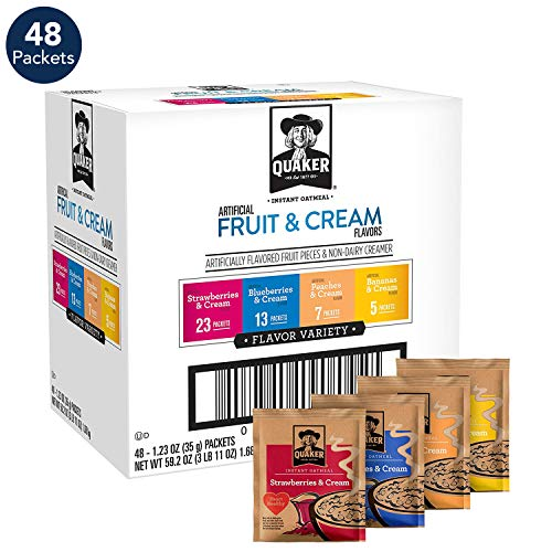 (Quaker Instant Oatmeal, Fruit & Cream, Individual Packets (48 Pack))
