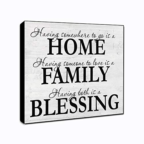 LACOFFIO Home Family Blessing Wood Wall Decor Sign 6x6 Housewarming Gift Idea