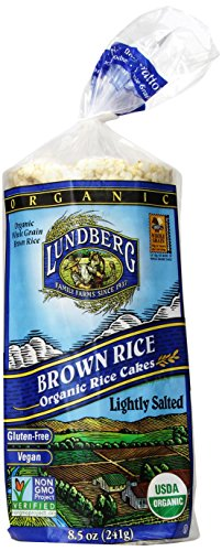 Lundberg Family Farms Organic Brown Rice Cakes, Lightly Salted, 8.5 Ounce (Pack of 12)