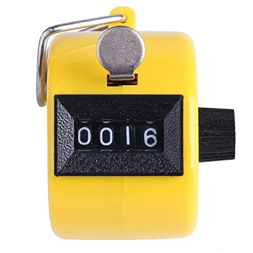 ( Orcbee  _Digital Hand Held Tally Clicker Counter 4 Digit Number Clicker Golf Chrome (Yellow))