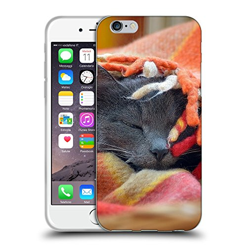 Just Phone Cases Coque de Protection TPU Silicone Case pour // V00004250 chat couvert avec une couverture // Apple iPhone 6 4.7""