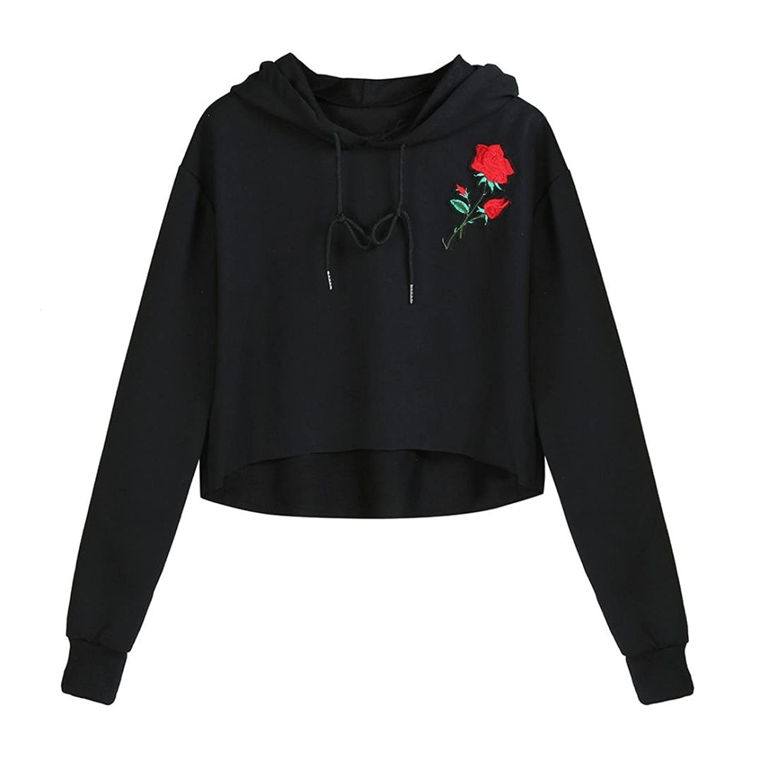Cropped Hoodies, Ankola Fashion Womens Rose Embroidery Lightweight Sweatshirt Hoodie Pullover Causal Crop Top at Amazon Womens Clothing store: