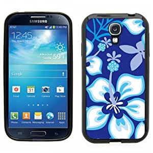 Samsung Galaxy S4 SIIII Black Rubber Silicone Case - Hibiscus Flowers Blue Pattern Hawaii Tropical Flowers by runtopwell