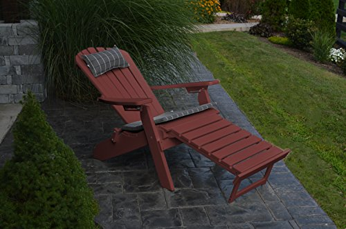 A & L Furniture Poly Folding/Reclining Adirondack Chair with Pullout Ottoman, Cherry (Cherry Folding Ottoman)