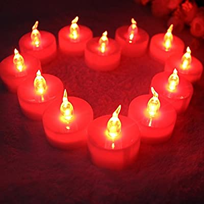 TBW TBW 12 Flameless Candles - Flameless LED Flickering Tealight Candles Battery Powered - LED Electric Tea Lights for Votive or Pillar Holders Yoga Meditation