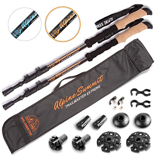 ASX 100% Carbon Fiber Trekking Poles w/Cork Grips - Collapsible Hiking/Walking - Alpine Poles