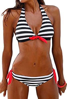 Imilan Women's Halter Bikini Set Stripes Padded Swimsuit Beachwear Bathing Suit