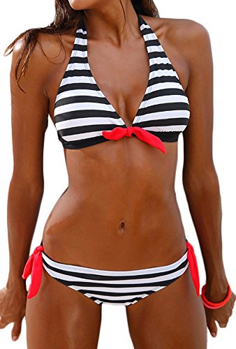 Imilan Women's Halter Bikini Set Stripes Padded Swimsuit Beachwear Bathing Suit((US 4-6) M,Black 1) by Imilan