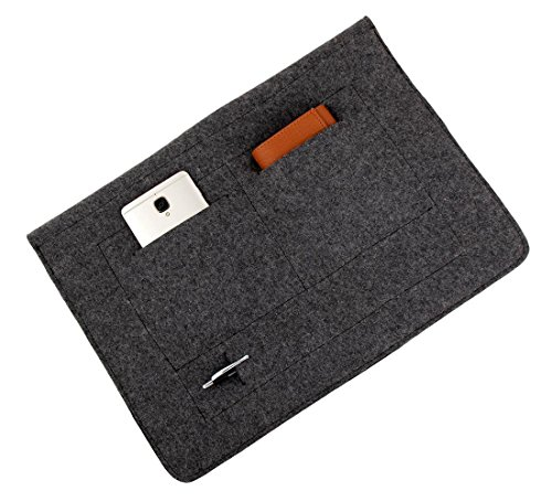 Mojopanda Virgin Organic Wool Felt 13-13.5 Inch Macbooks, Laptop Grey Sleeve Case Carrying Bag With 2 Back Pouches For Mobile Phones And An Inner Packet For Tab, Ipad Or Power Chord. by MOJO PANDA (Image #2)'