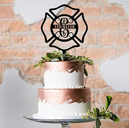 Maltese Cross Cake Topper with Last Name-Custom Acrylic Cake Topper-Laser CutVariety of Colors-Firefighter's Cross-Wedding Cake Decoration]()
