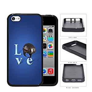 Love Air Force Brown Helmet with Royal Blue Background iPhone 5c Rubber Silicone TPU Cell Phone Case