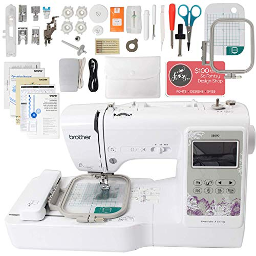 "Brother SE600 Computerized Sewing and Embroidery Machine Bundle with 4"" x 4"" Embroidery Area"