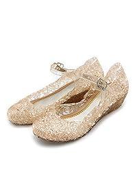 Girls High Wedge Heels Toddler Dress up Shoes Princess Crystal Jelly Sandals(Toddler/Little Kid/Big Kid)