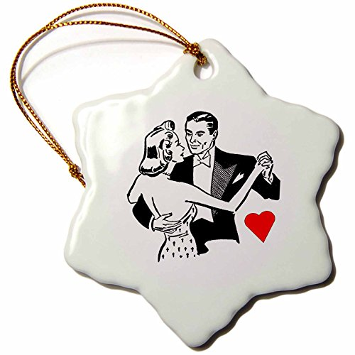 3dRose orn_62200_1 Retro Couple Dancing in Black N White Snowflake Porcelain Ornament, ()
