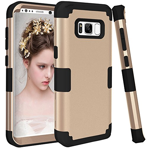 us Case, VPR 3 in 1 Hybrid Cover Hard PC Soft Silicone Rubber Heavy Duty Shock Absorbing Protective Defender Case for Samsung Galaxy S8 + Plus (2017) 6.2 inch (Gold+Black) ()