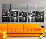 "XLARGE 30""x 70"" 5 Panels 30""x14"" Ea Art Canvas Print beautiful Boston Skyline night Black & White Wall Home Office decor interior ( framed 1.5"" depth) offers"