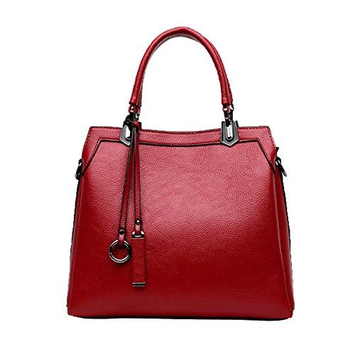 Señora Vintage Bolsos Pu Cartera De Cuero Bolsas De Hombro Top-manejar Bolsas Para Las Mujeres Red