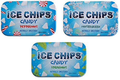 ICE CHIPS Candy 3 Pack Assortment (Peppermint, Wintergreen, Spearmint) by ICE CHIPS