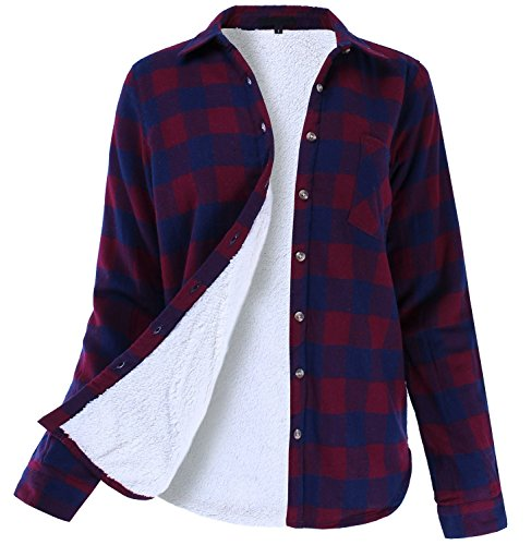 Winter Flannel Plaid Button Down Top with Sherpa Fleece Lining Navy Burgundy S Size