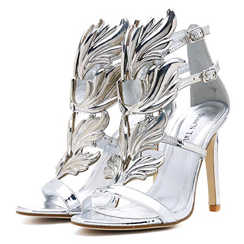 (Shoe'N Tale Women's High Heel Gladiator Sandals Gold Flame Party Dress Stiletto Shoes (9 B(M) US, Silver))