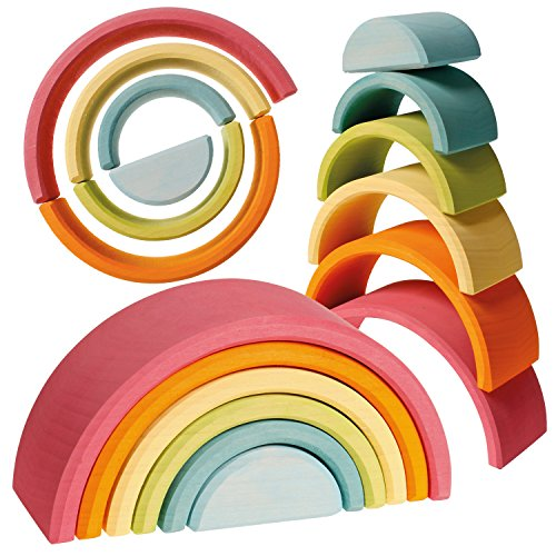 Large 6-Piece Pastel Rainbow Stacker, Open-Ended Wooden Nesting & Stacking Toy (Pastel Toy)