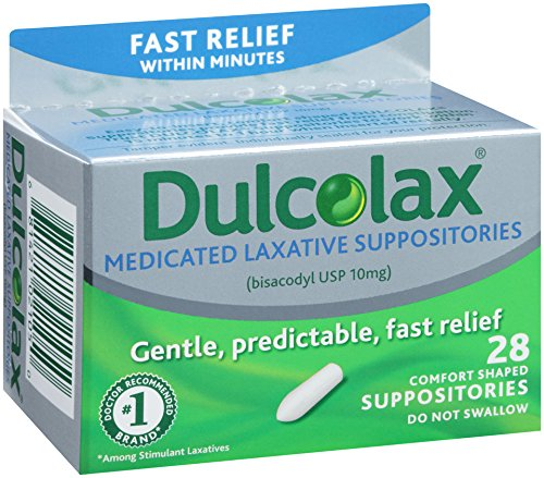 Ducolax Laxative Suppositories, 28 Count, Fast, Reliable, and Gentle Relief from Constipation and Hard, Dry, Painful Stools Within 15-50 Minutes, Comfort Shaped Medicated Suppositories by Dulcolax