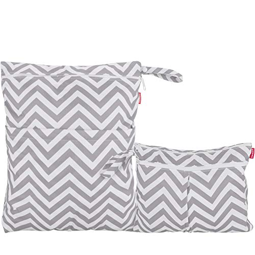 Damero 2pcs Travel Wet and Dry Bag, Reusable Wet Bags Organizer with Two Zippered Pocket for Cloth Diaper, Pumping Parts, Swimsuit and Gym, Gray Chevron
