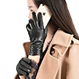 GSG Classic Womens Winter Warm Touch Screen Sheepskin Leather Gloves Fur Lining Gloves Size 7.5 Black