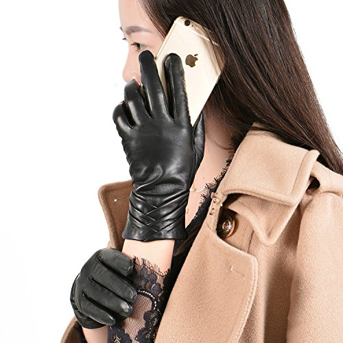 GSG Womens Leather Gloves Driving Touchscreen Ruched Warm Spain Nappa Texting Winter Wool Liner Black 8