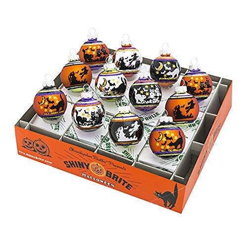 Christopher Radko Halloween 12 Piece Signature Flocked Ombre Ornaments ()