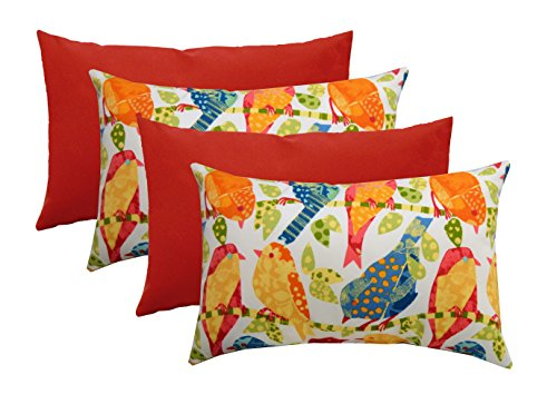 Set of 4 Indoor / Outdoor Decorative Lumbar / Rectangle Pillows - 2 Ash Hill Orange Blue Yellow Red Garden Birds & 2 Solid Red