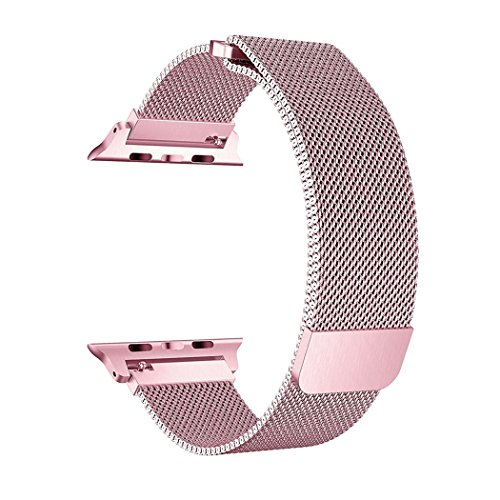 OROBAY Compatible for Apple Watch Band 38mm, Stainless Steel Milanese Loop Adjustable Magnetic Closure Replacement iWatch Band Compatible for Apple Watch Series 3 Series 2 Series 1, Rose Gold by OROBAY