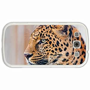 Customized Samsung Galaxy S3 SIII 9300 Hard Shell Cover Case Diy Personalized Designleopard snout mustache profile view White