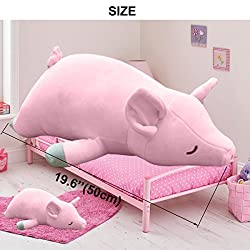 """UNIQME Pig Plush Doll 3D Animal Stuffed Piggy Throw Pillow Funny Bed Nursery Decoration Play Toy Baby Girl Sleeping Pillow Gift Girlfriend 19.6"""""""
