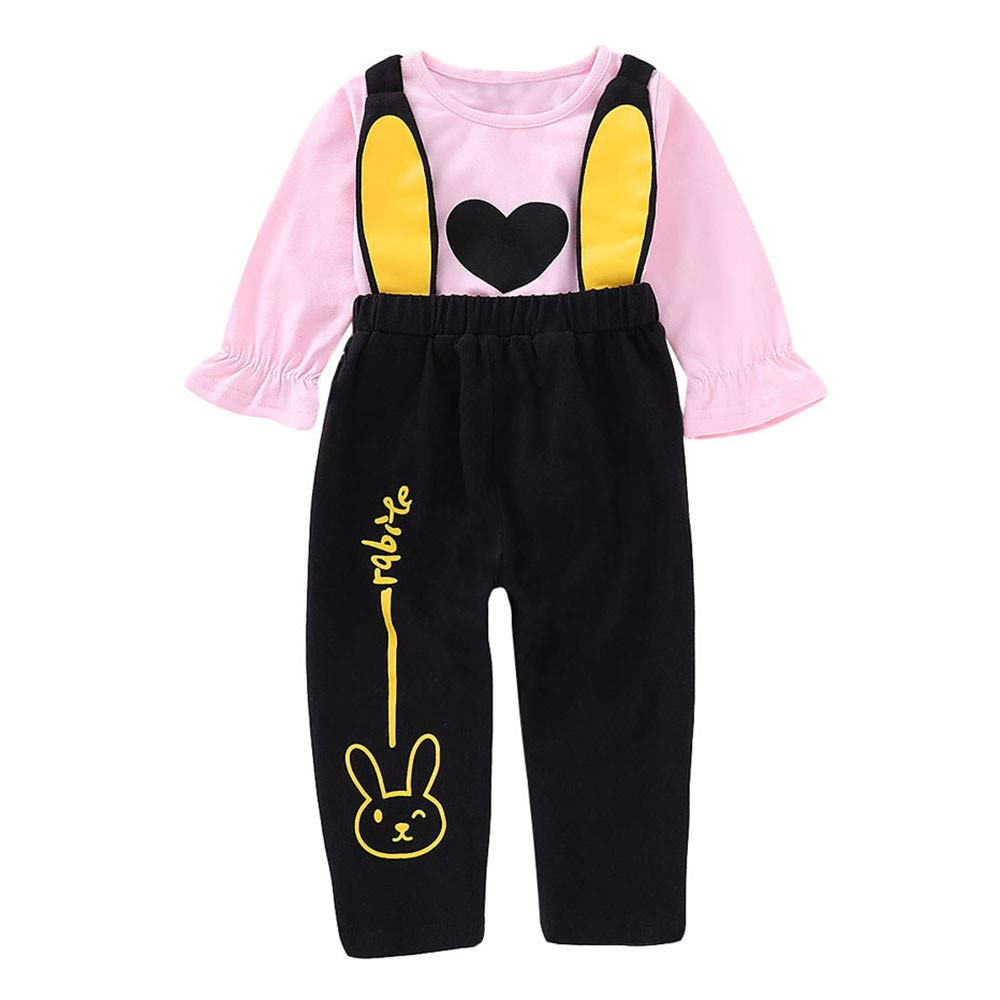 Toddler Kids Baby Girls 6 Months-4T Printed T-Shirt Tops+Cartoon Ears Pants Set Outfits