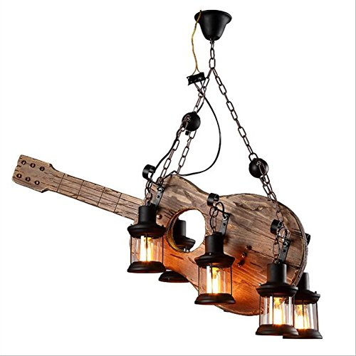 Rustic Iron Ribbon (Retro Industrial Chandelier Pendant Lights 6 Heads Lights Solid Wood Personality Guitar Shape E27 Base Suspended Hanging For Room Bar Decoration (Bulb Not Included))