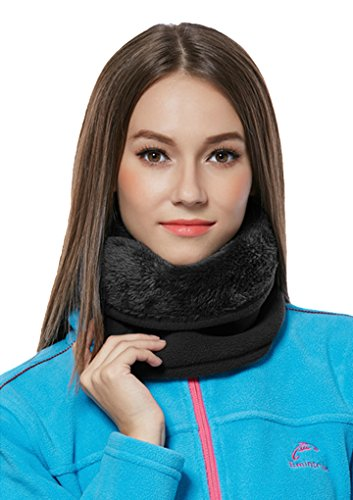 Unisex 3in1 Winter Thermal Thick Fleece Balaclava Neck Snood/Gaiter Tube Face Warm Mask Beanie Hat Scarf Hood Head Neck Warmer for Snowboard Cycling Motorcycle Bike Ski Outdoor Sports Bandana Headband