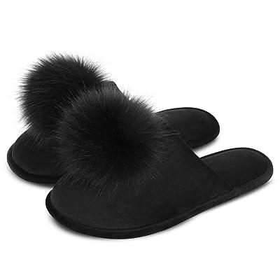 Amazon.com | DL Women's Slippers Comfort Cozy Velvet Memory Foam House Slippers with Puffer Ball (Pompoms), Slip on Slippers for Ladies with Anti-Slip Rubber Sole | Slippers