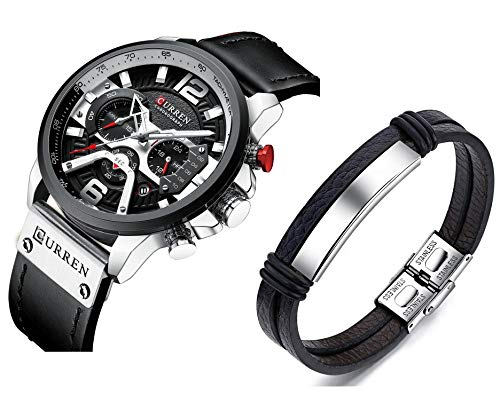 Luxury Watches for Men - Mens Leather Strap Chronograph Wrist Watch and Fashion Bracelet Set - Available Blue or Black - Military Design - Waterproof Analog Wristwatch Gifts