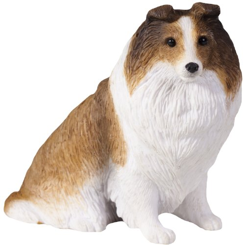 Shetland Sheepdog Figurine (Sandicast Sable Shetland Sheepdog Sculpture, Sitting, Small Size)