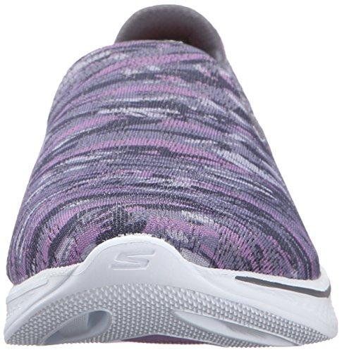 Skechers Rendimiento Go Walk 4 Electrify Flourish del zapato que camina Gray/Purple