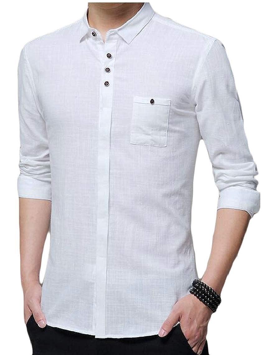 Yayu Mens Casual Long Sleeve Stand Collar Linen Button Down Shirts